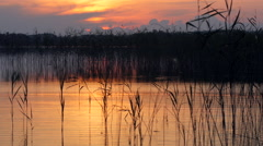 Warm sunset on a lakeshore with water ripples in foreground Stock Footage
