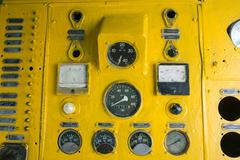 gauges panel of old locomotive - stock photo