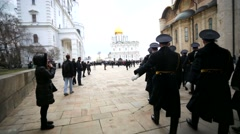 Officers march in Kremlin Stock Footage