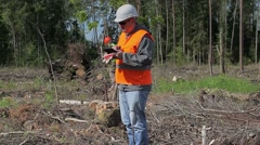 Forest officers check destroyed forest Stock Footage