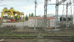 Industrial area seen from train Stock Footage
