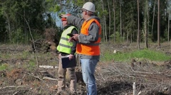 Forest officers in destroyed forest Stock Footage