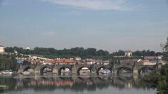 ULTRA HD 4K Famous Charles Bridge Prague landmark tourism emblem heritage symbol Stock Footage