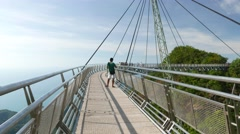 Sunny walkway of Sky Bridge, panoramic observation deck, Langkawi Stock Footage