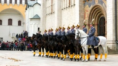 Equestrian and pedestrian procession of the President regiment - stock footage