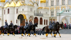 Equestrian and pedestrian procession of the President regiment Stock Footage