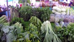Traditional Farmer's Market Vegetable Stand in S. E. Asia. - stock footage