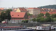 ULTRA HD 4K Pan right Prague Castle church tower traffic street skyline emblem Stock Footage