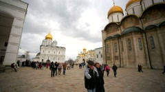 People visit Sobornaya square inside Moscow Kremlin. Stock Footage
