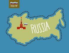 Russia Map. Russia surrounded by barbed wire. The Kremlin in Moscow. Vector i - stock illustration
