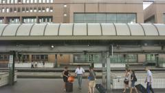 People in French train station Lyon Part-Dieu Stock Footage