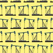 Oil rig seamless pattern. Oil pump pumps oil vector background. - stock illustration