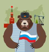 Bear with ear flaps with  flag of Russia. Background of  Moscow Kremlin and o - stock illustration
