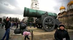 Tsar cannon inside Moscow Kremlin. Stock Footage