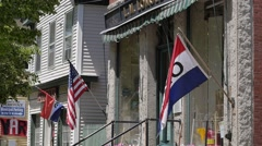 """Main Street """"Open"""" Flag Open for Business Stock Footage"""