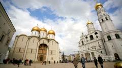 People visit Sobornaya square inside Moscow Kremlin. Stock Footage