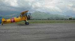 U.S. Navy Bi Plane Slow motion Stock Footage