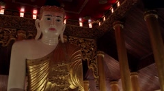 Sculpture of Buddha in the temple. The interior of the pagoda. Stock Footage