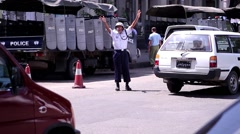 Police regulates the movement. Policeman on the road. Stock Footage