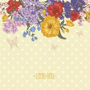 Beautiful Spring and Summer Floral Bouquet for Invitation Card Stock Illustration