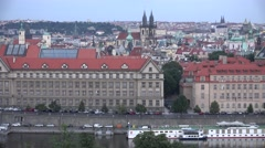 ULTRA HD 4K Panoramic view Prague cityscape skyline old town hall tower church  Stock Footage