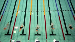 Sportswomen start to swim crawl during Championship of Russia on swimming Stock Footage