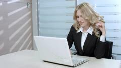 Blonde is rewritten on the Internet. Girl gets acquainted with boy. Stock Footage