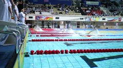 Athletes swim backstroke during Championship of Russia - stock footage