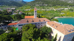 View of beautiful Dominican monastery in Bol on island of brac, Croatia. Stock Footage