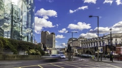 Timelapse of road traffic by Waterloo station, London Stock Footage