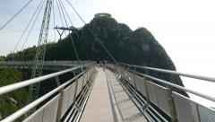 Langkawi Sky Bridge in back light, sunny evening, camera move forward Stock Footage