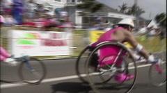 WHEELCHAIR RACING FINAL STRETCH - CARLSBAD, CA Stock Footage