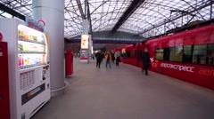 Walk along Aeroexpress train station at Sheremetyevo airport. Stock Footage