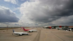 Aircrafts at the Sheremetyevo airport. Stock Footage