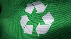 Green Flag with Recycle symbol Stock Footage