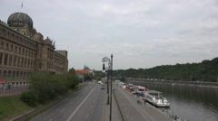 ULTRA HD 4K Aerial view public transport car pass avenue Prague town city Vltava Stock Footage