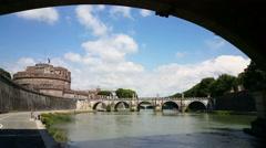 Ponte Principe, view on Caste Sant Angelo Stock Footage