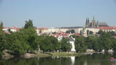 ULTRA HD 4K Pan right Castle church building Charles bridge Prague landmark day  - stock footage