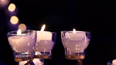 Candles in Disco Night Club on Background Dj Light - stock footage