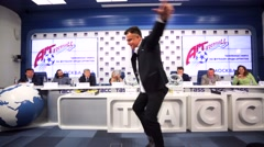"Stock Video Footage of Press conference of football-music festival ""Art-Football""."