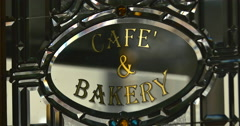 4K Cafe and Bakery Sign - stock footage