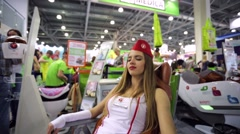 Woman relax in a massage chair Stock Footage