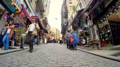 Yuksek kaldirim street is an old commercial area of Galata Stock Footage