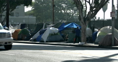 4K Skid Row Tents Homeless Downtown Los Angeles Stock Footage