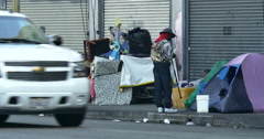 4K Skid Row Downtown Los Angeles Tents Homeless Stock Footage