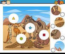 Match pieces game cartoon Stock Illustration