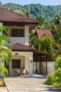House near the mountains. Thailand - stock photo