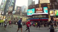 Runners down Seventh Avenue, One Stock Footage