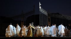 Maestro conducts on Giacomo Puccini's 'Tosca' opera during dress rehearsal Stock Footage
