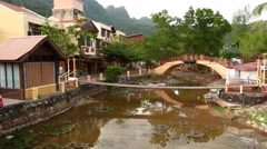 Langkawi Oriental Village, empty after workday end. Pan shot, camera turn right Stock Footage